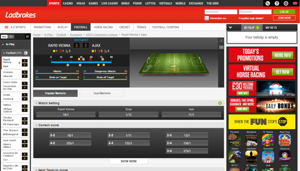 Ladbrokes in-play betting